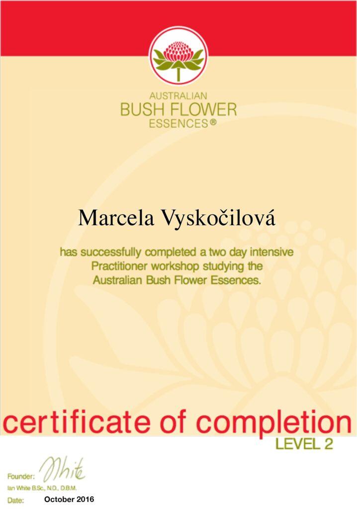 certifikát květové esence - Marcela Vyskočilová