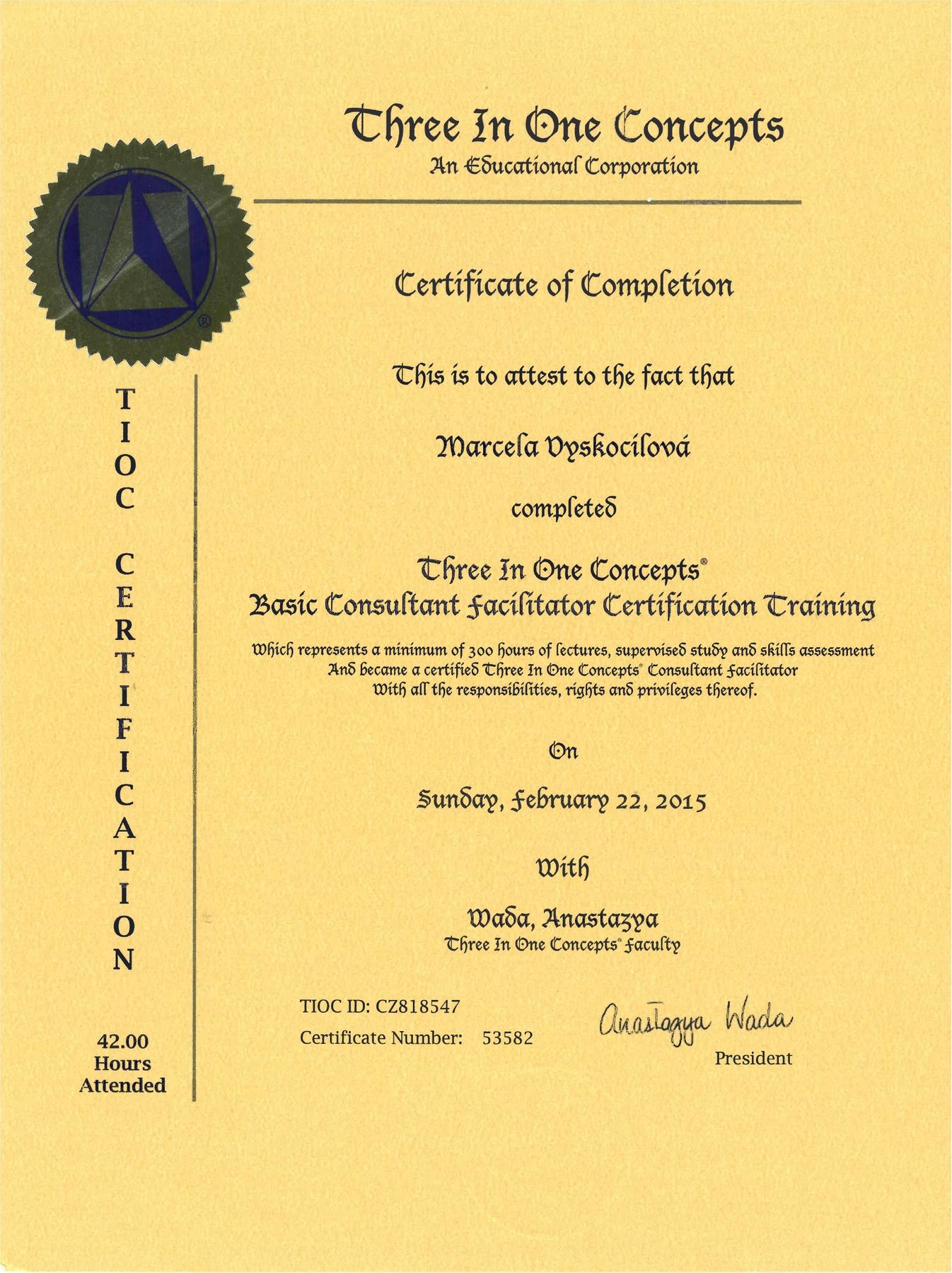 Certifikát Kineziologie One Brain
