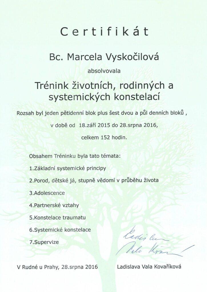 certifikát rodinné konstelace - Marcela Vyskočilová
