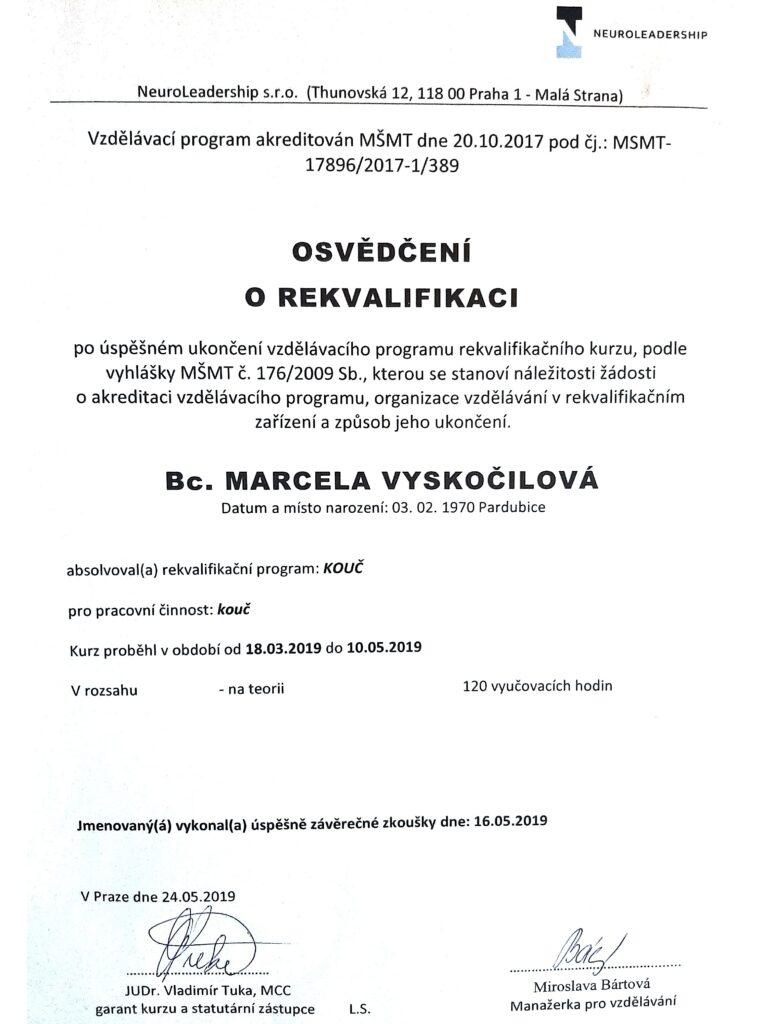 koučink - osvědčení Marcela Vyskočilová